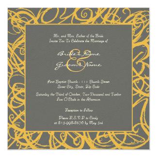 Yellow and Gray Sketchy Frame Wedding Invitation