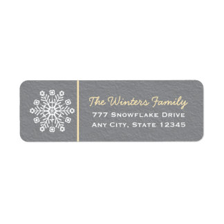 Yellow and Gray Snowflake Return Address Labels