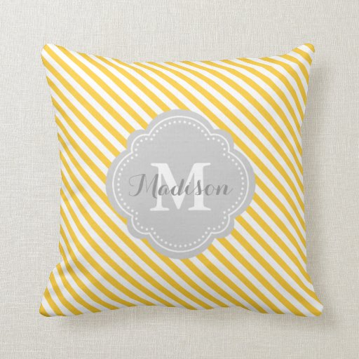 Yellow Striped Throw Pillows : Yellow and Gray Striped Monogram Throw Pillow Zazzle