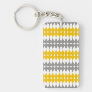 Yellow And Gray Tear Drop Pattern Keychain