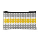 Yellow And Gray Tear Drop Pattern Makeup Bags