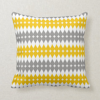 Yellow And Gray Tear Drop Pattern Throw Pillow