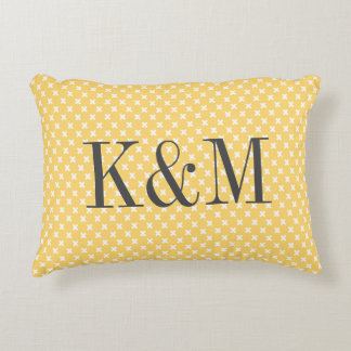Yellow and Gray Tiny X Monogram Accent Pillow