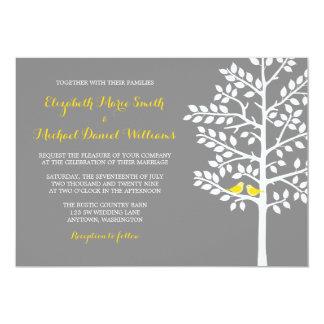 Yellow and Gray Tree Love Birds Wedding Invitation
