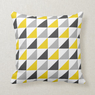 Yellow and Gray Triangles Pattern Throw Pillow