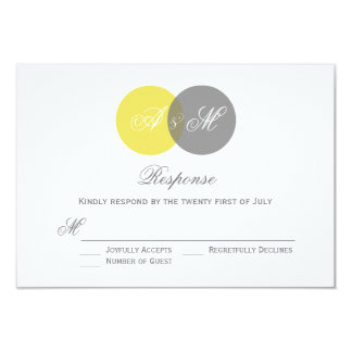 Yellow and Gray Twin Monograms Wedding RSVP Card