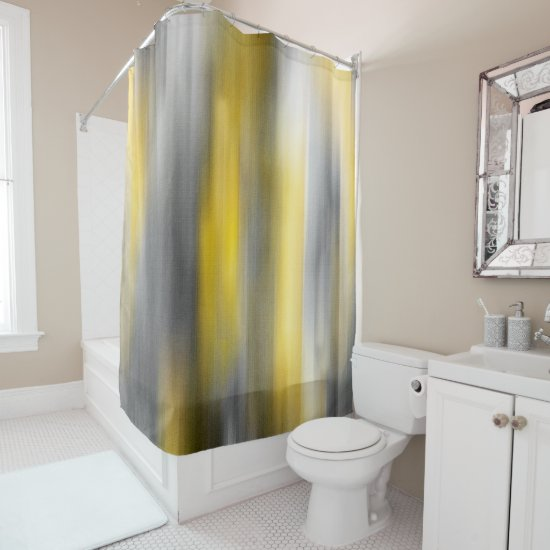 Yellow and Gray Vertical Abstract Shower Curtain