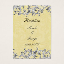 Yellow and Gray Vintage Flourish Wedding Business Card