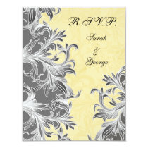 Yellow and Gray Vintage Flourish Wedding Card