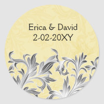 Yellow and Gray Vintage Flourish Wedding Classic Round Sticker