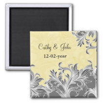 Yellow and Gray Vintage Flourish Wedding Magnet