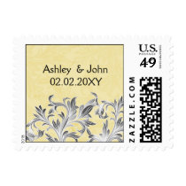 Yellow and Gray Vintage Flourish Wedding Postage