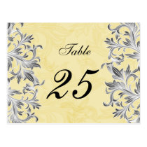 Yellow and Gray Vintage Flourish Wedding Postcard