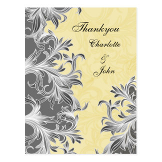 Yellow and Gray Vintage Flourish Wedding Postcard