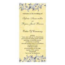 Yellow and Gray Vintage Flourish Wedding Rack Card