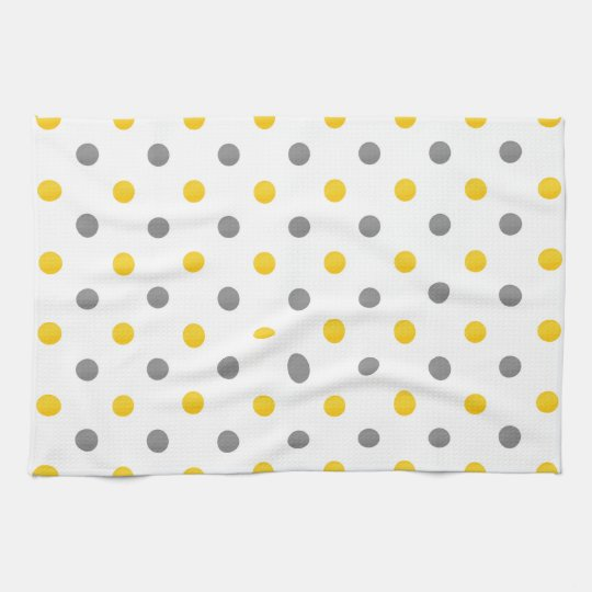 Yellow And Gray Watercolor Polka Dots Kitchen Towel Zazzle Com