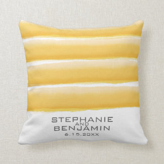 Yellow and Gray Watercolor Stripes Wedding Throw Pillow