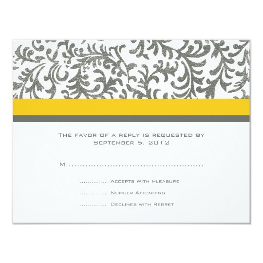 Yellow and Gray Wedding RSVP Card