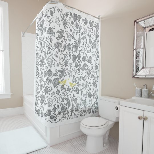 Yellow And Gray White Floral Bird Pattern Shower Curtain