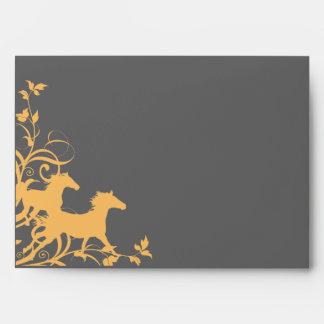 Yellow and Gray Wild Horses Envelope
