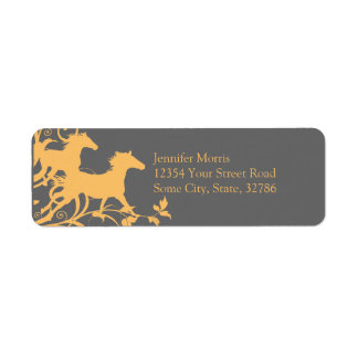 Yellow and Gray Wild Horses Return Address Label
