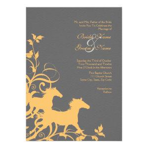 Yellow and Gray Wild Horses Wedding Invitation
