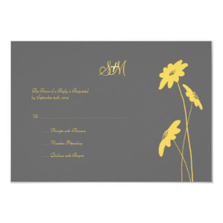 Yellow and Gray Wildflowers Wedding RSVP Card