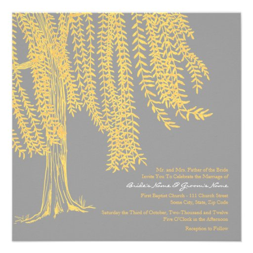 Yellow and Gray Willow Tree Wedding Invitation