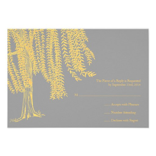 Yellow and Gray Willow Tree Wedding RSVP Personalized Invite
