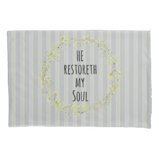 Yellow and Gray with Bible Verse Pillow Case