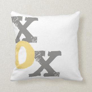 Yellow and Gray XOX Throw Pillow