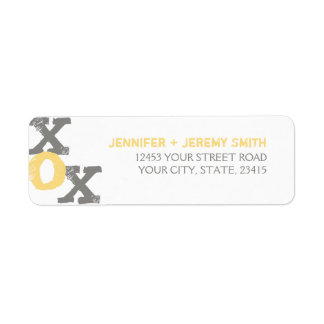 Yellow and Gray XOX Wedding Return Address Label