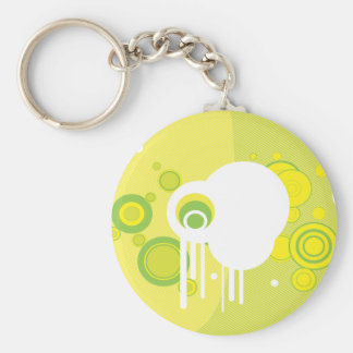 Yellow And Green Abstract Basic Round Button Keychain
