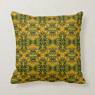 Yellow and Green Abstract Print Throw Pillow