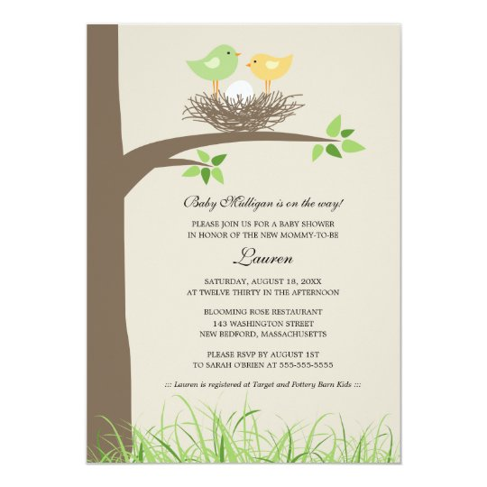 Yellow and green baby birds nest baby shower invitation zazzle yellow and green baby birds nest baby shower invitation filmwisefo