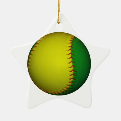 Yellow and Green Baseball Double-Sided Star Ceramic Christmas Ornament