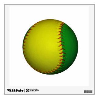 Yellow and Green Baseball / Softball Wall Decal