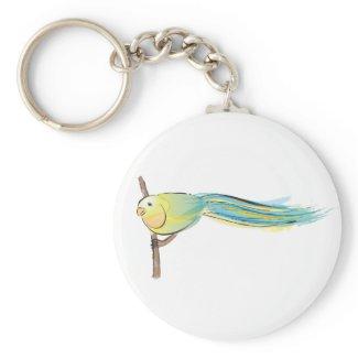 Yellow and Green Bird zazzle_keychain