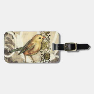 Yellow and Green Bird on Vintage Background Bag Tag