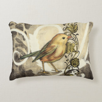 Yellow and Green Bird on Vintage Background Decorative Pillow