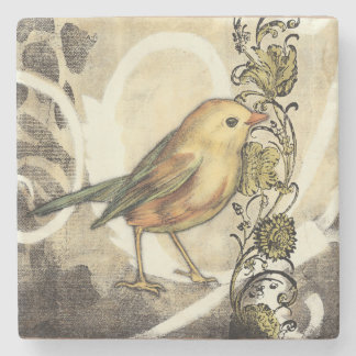 Yellow and Green Bird on Vintage Background Stone Beverage Coaster