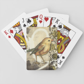 Yellow and Green Bird on Vintage Background Playing Cards