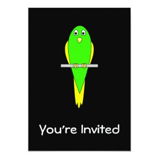 Yellow and Green Bird. Parakeet. Black Card