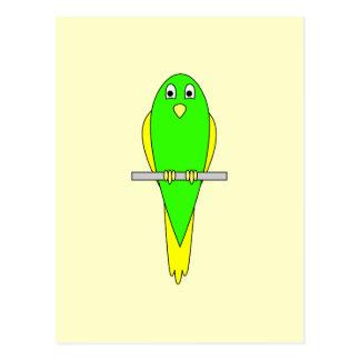 Yellow and Green Bird. Parakeet Postcard