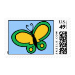 Yellow and Green Butterfly Postage Stamp