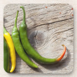 Yellow and Green Chili Pepper Coaster