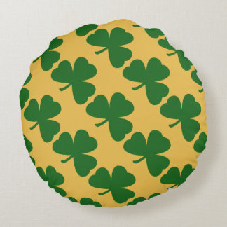Yellow And Green Clover Pattern St. Patrick's Day Round Pillow