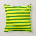 [ Thumbnail: Yellow and Green Colored Lined/Striped Pattern Throw Pillow ]