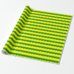 [ Thumbnail: Yellow and Green Colored Lined/Striped Pattern Wrapping Paper ]