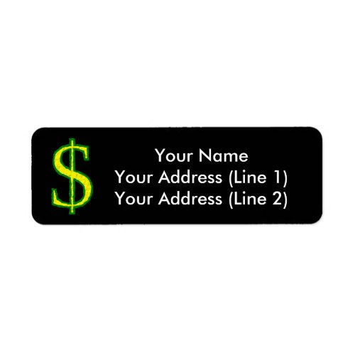 Yellow and Green Crinkled Dollar Sign  Label